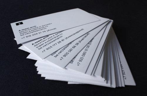 Визитки на немелованной бумаге плотностью 300 г/м2