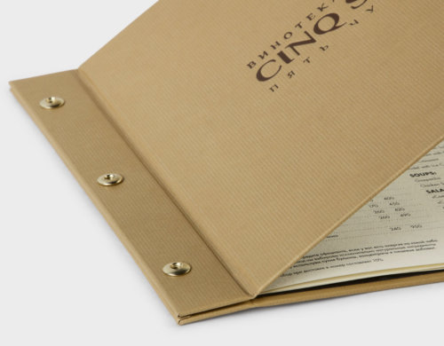 Болтовой переплет ресторанного меню с твердой обложкой