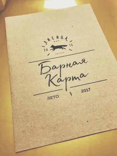 """Многостраничное меню из крафтовой бумаги для бара """"Лисица"""". Формат - 210х297 мм"""
