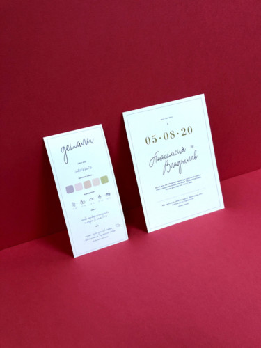 Приглашения, отпечатанные на итальянской бумаге Cordenons Icelaser Лен. Плотность - 300 г/м2. Дата оттиснена золотой фольгой