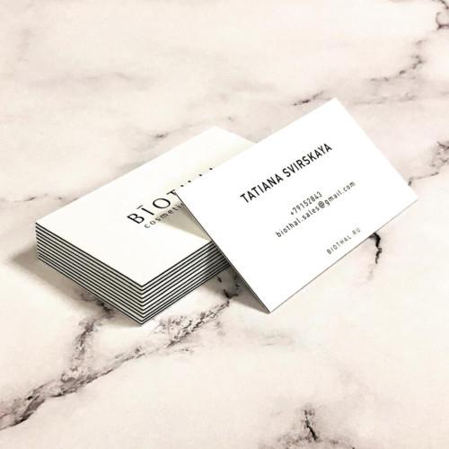 Трехслойные визитки. Наружные слои - хлопковая бумага Pur Cotton Cocaine 350 г/м2. Внутренний слой - Pergraphica Black 350 г/м2